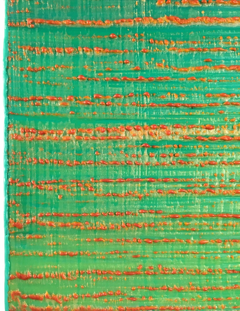 Silk Road 447, 2019, encaustic on panel, 12 x 12 x 2 inches - Blue Abstract Painting by Joanne Mattera