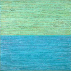 Silk Road 481, Square Color Field Encaustic Painting in Mint Green and Sky Blue