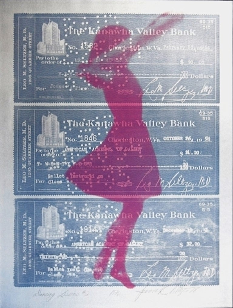 Printed on a slightly reflective metallic silver finished paper. there is a companion piece on a money green paper. A depiction of a ballet dancer, superimposed upon canceled dance class checks.   Joanne Seltzer was born in Philadelphia,