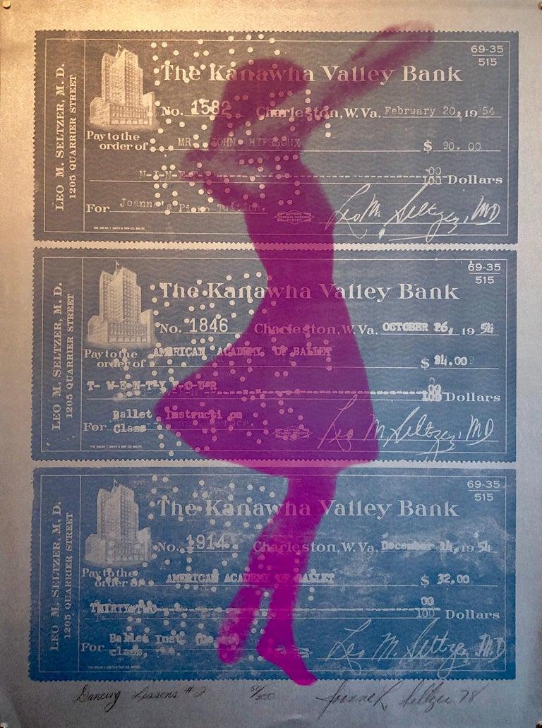 """Joanne Seltzer Portrait Print - 1970s Pop Art """"Dancing Lessons #2"""" Silver Silkscreen Mod Ballet Girl Print"""
