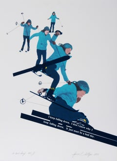 A Bad Day, Skiing Lithograph by Joanne Seltzer