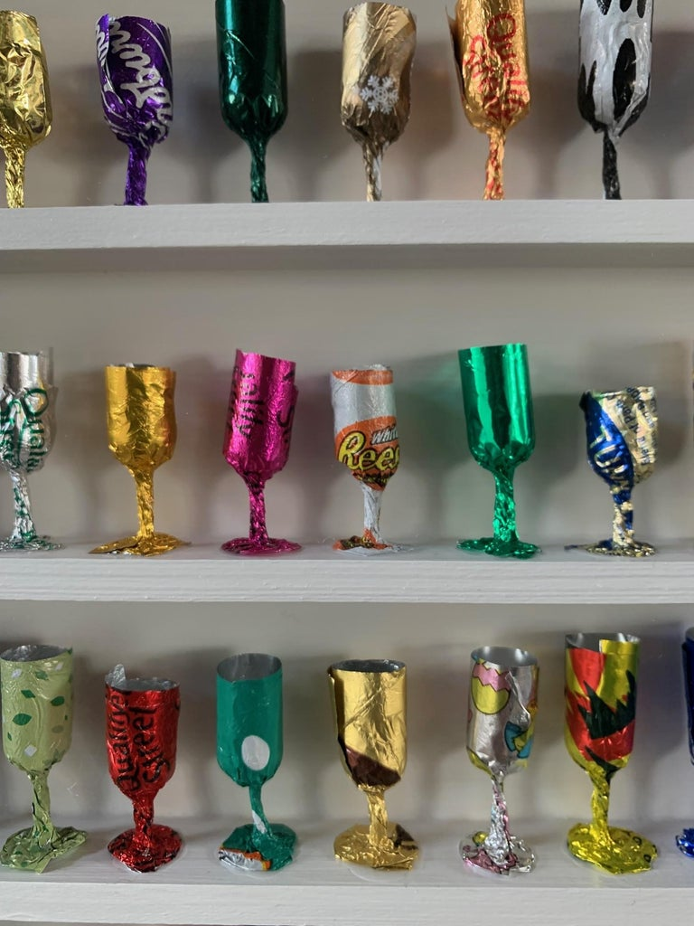 Goblets, Joanne Tinker, Wall Sculpture, Recycled Art, Contemporary Installation 1