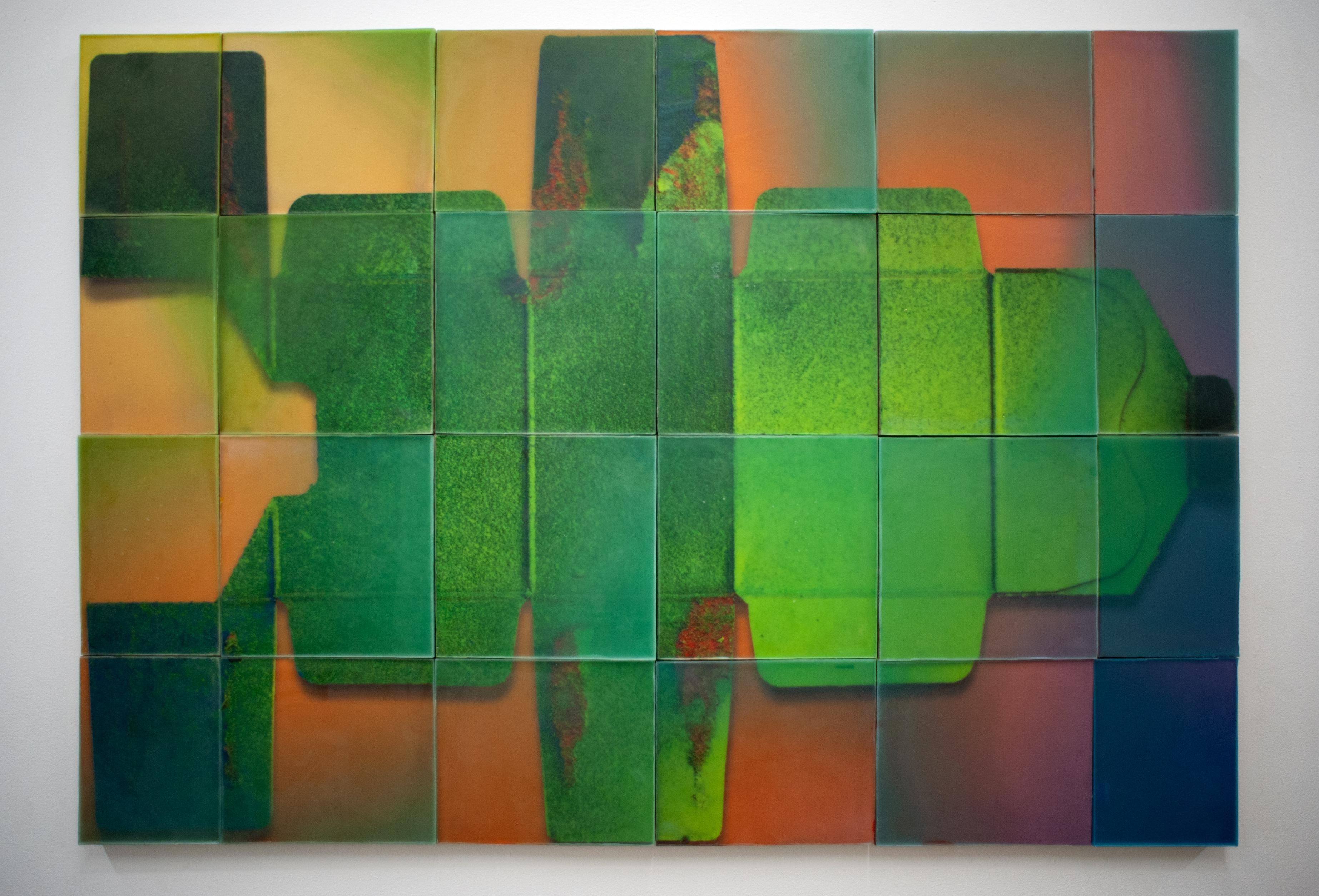 """Botox"", waxwork multi-panel wall installation, Geometric Abstract Installation"