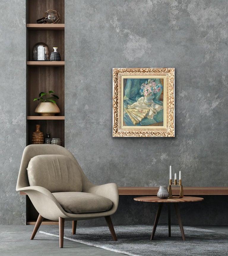 French impressionist painting - école de Paris - Floral Still Life with fan For Sale 5
