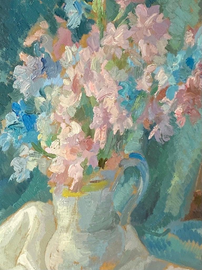 French impressionist painting - école de Paris - Floral Still Life with fan - Impressionist Painting by Joaquim Marti Bas Blasi
