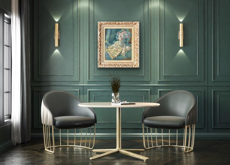 French impressionist painting - école de Paris - Floral Still Life with fan For Sale 4
