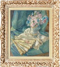 école de Paris iImpressionist Floral Still Life with fan - Flowers Elegant