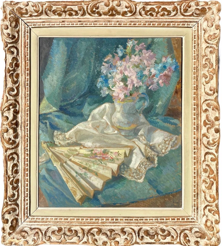Joaquim Marti Bas Blasi Interior Painting - French impressionist painting - école de Paris - Floral Still Life with fan