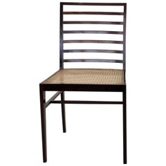 Joaquim Tenreiro Eight Chairs with H-Base Frame Jacaranda Rosewood and Cane Seat