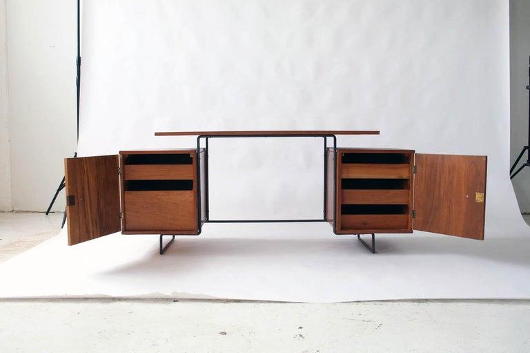 Mid-Century Modern Joaquim Tenreiro Jacaranda and Steel Floating Top Desk Designed in 1954, Brazil For Sale