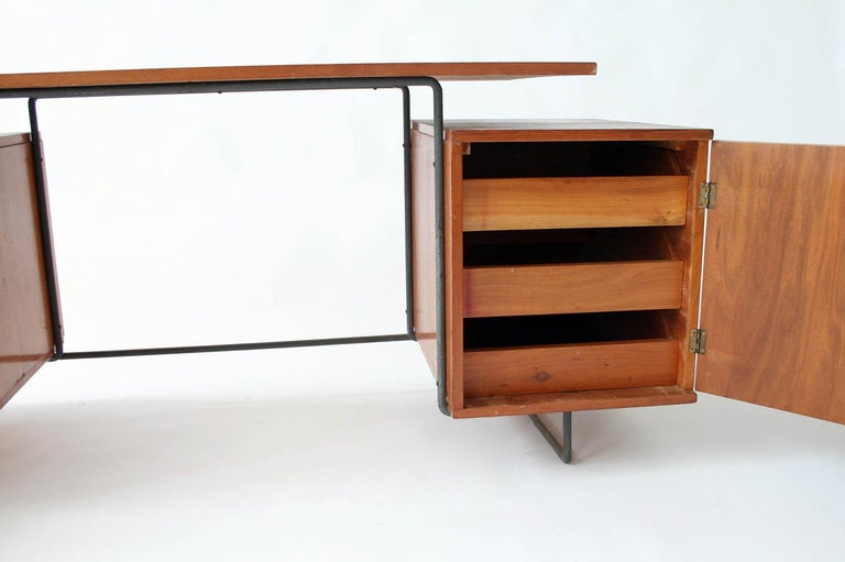 Brazilian Joaquim Tenreiro Jacaranda and Steel Floating Top Desk Designed in 1954, Brazil For Sale