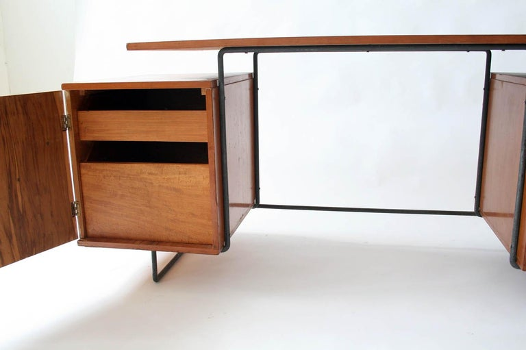 Joaquim Tenreiro Jacaranda and Steel Floating Top Desk Designed in 1954, Brazil In Good Condition For Sale In Chicago, IL