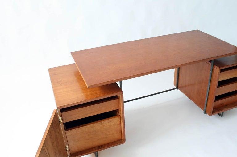 Mid-20th Century Joaquim Tenreiro Jacaranda and Steel Floating Top Desk Designed in 1954, Brazil For Sale
