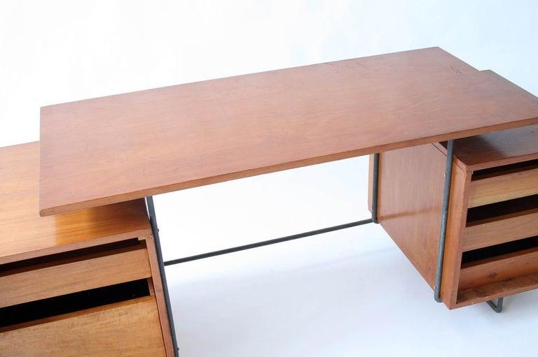 Iron Joaquim Tenreiro Jacaranda and Steel Floating Top Desk Designed in 1954, Brazil For Sale