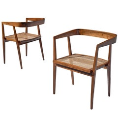 Joaquim Tenreiro Pair of Jacaranda and Cane Chairs