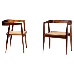 Joaquim Tenreiro Pair of Rosewood and Cane U Chair, circa 1960