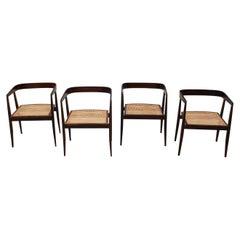 Joaquim Tenreiro Set of Four U Dining Chairs in Jacaranda