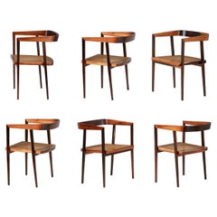 Joaquim Tenreiro Set of Rosewood and Cane 'U' Chairs, circa 1960