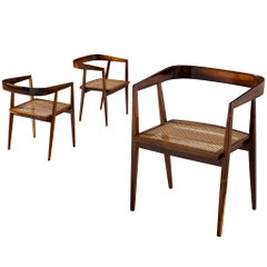 Joaquim Tenreiro Set of three Jacaranda and Cane Chairs