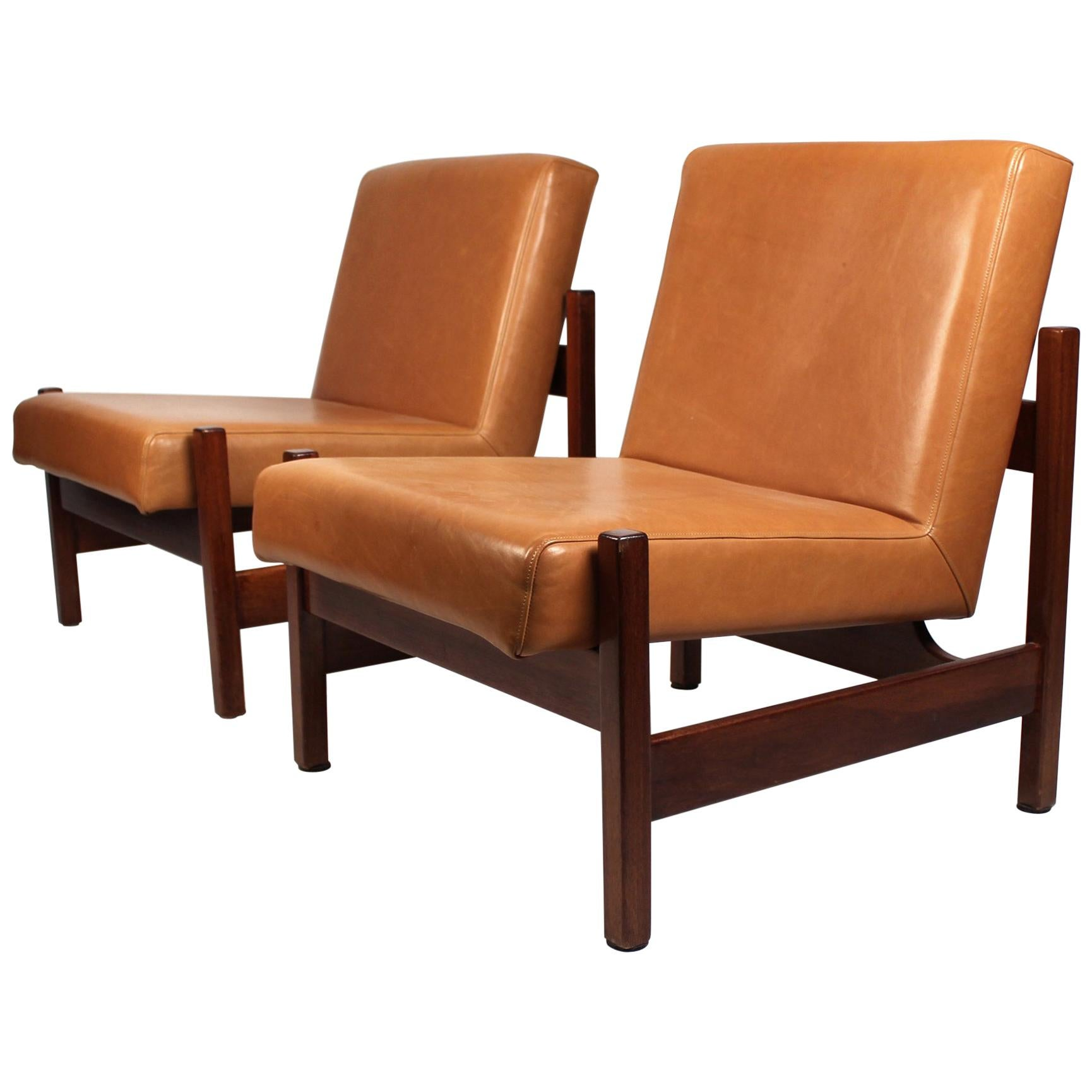 Joaquim Tenreiro Style Peroba Lounge Chairs in leather for Knoll & Forma Brazil