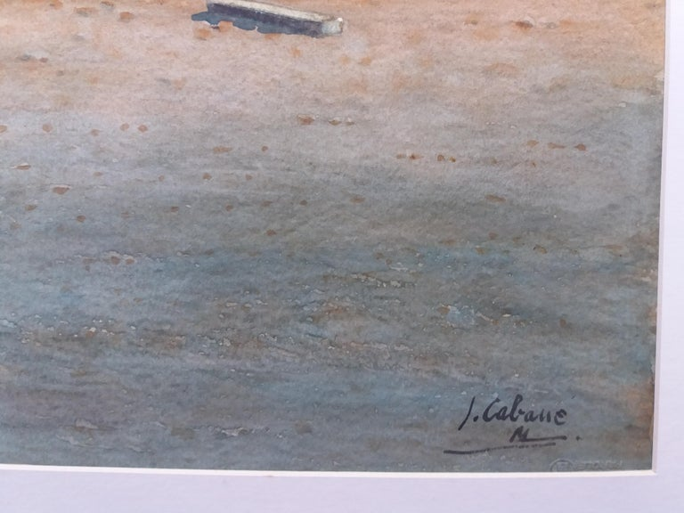 Beach. boats in the sand.  original realist watercolor painting For Sale 4