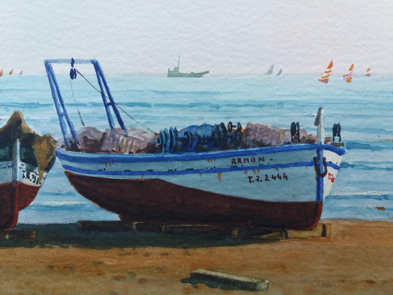 Beach. boats in the sand.  original realist watercolor painting For Sale 5
