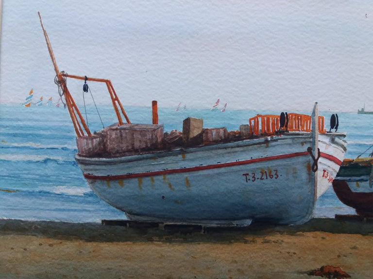 Beach. boats in the sand.  original realist watercolor painting For Sale 6