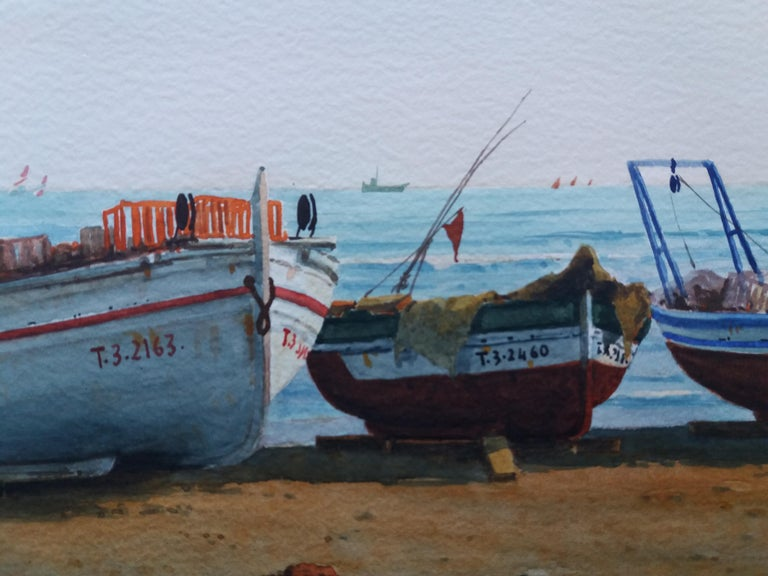 Beach. boats in the sand.  original realist watercolor painting For Sale 7
