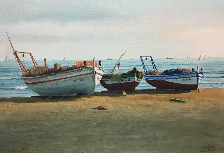 Beach. boats in the sand.  original realist watercolor painting - Painting by Joaquin Cabane