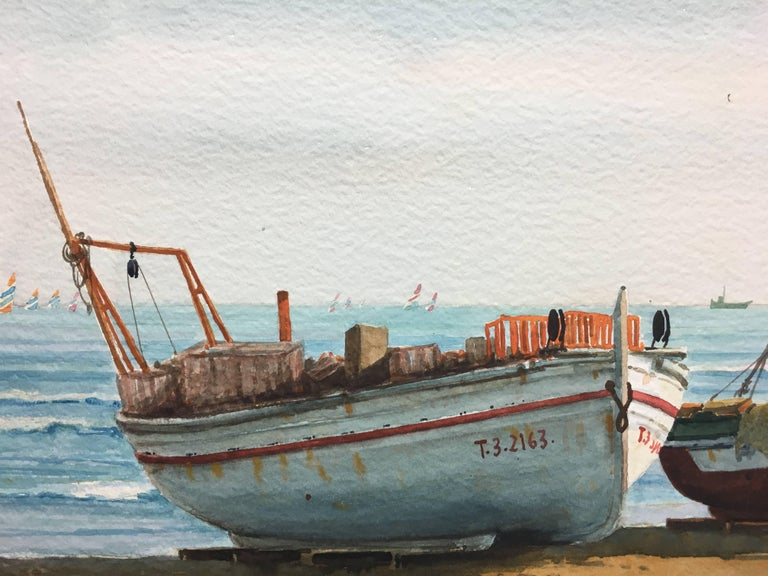 Beach. boats in the sand.  original realist watercolor painting - Realist Painting by Joaquin Cabane