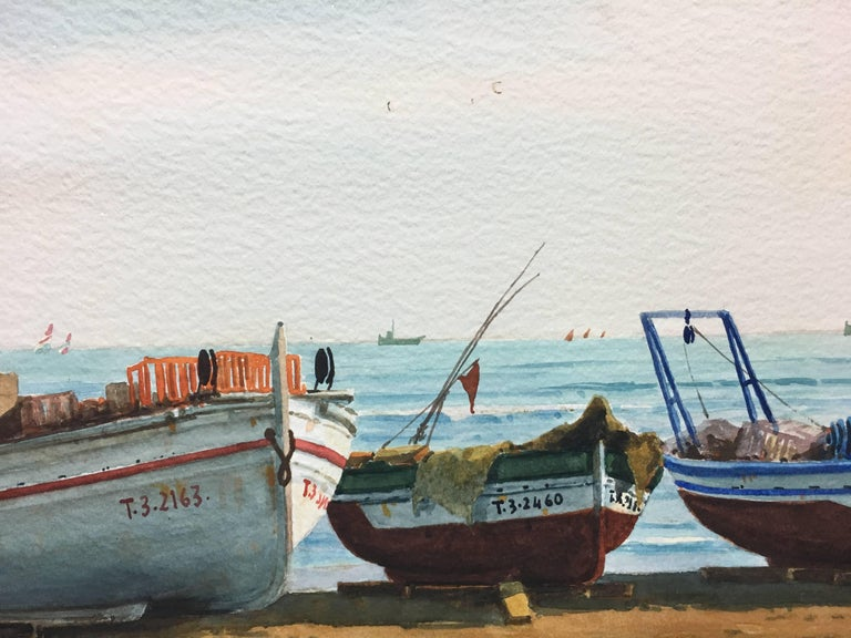 Beach. boats in the sand.  original realist watercolor painting - Black Figurative Painting by Joaquin Cabane