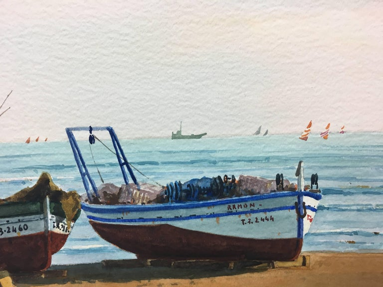 Beach. boats in the sand.  original realist watercolor painting. Framed Original watercolor by the Spanish artist Cabane. 1922/1993 Painter and watercolorist, Joaquim Cabané traveled in search of inspiration different points of the Spanish and
