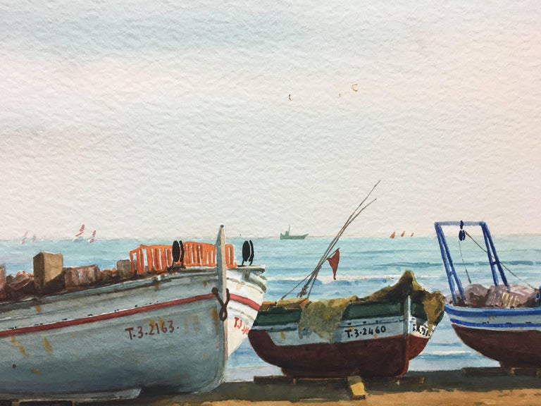 Beach. boats in the sand.  original realist watercolor painting For Sale 2