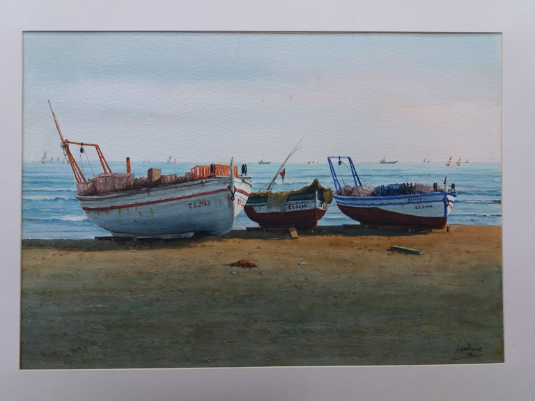 Beach. boats in the sand.  original realist watercolor painting For Sale 3