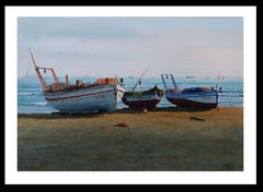 Beach. boats in the sand.  original realist watercolor painting