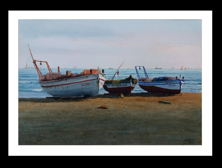 Joaquin Cabane Figurative Painting - Beach. boats in the sand.  original realist watercolor painting