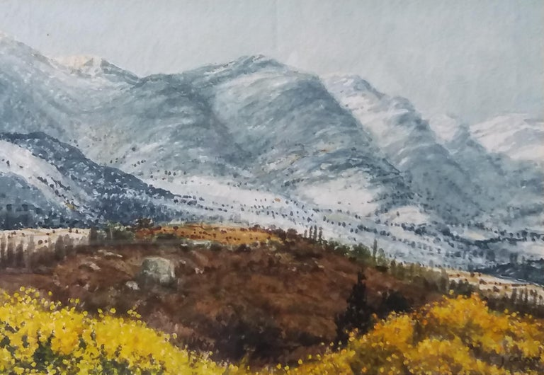 lake in the pPyrenees Landscape original watercolor painting - Realist Painting by Joaquin Cabane