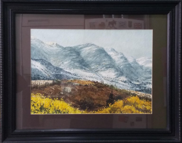 lake in the pPyrenees Landscape original watercolor painting  frame Original watercolor by the Spanish artist Joaquin Cabane.01922/1993 Painter and watercolorist, Joaquim Cabané traveled in search of inspiration different points of the Spanish and