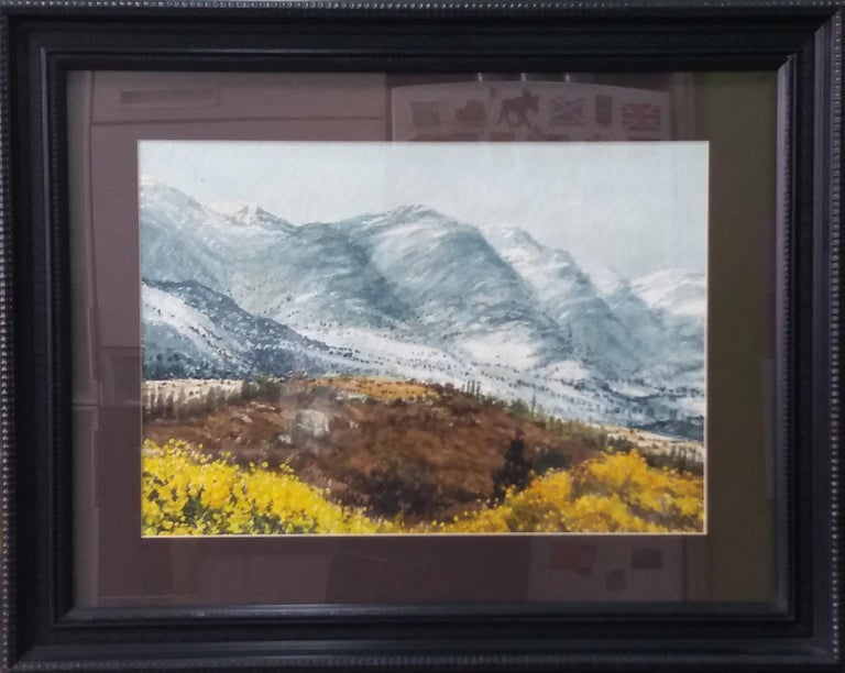 Joaquin Cabane Landscape Painting -  lake in the pPyrenees Landscape original watercolor painting