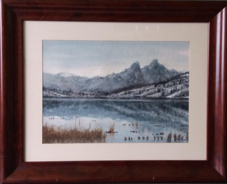 lake in the Pyrenees Landscape original watercolor painting - Painting by Joaquin Cabane