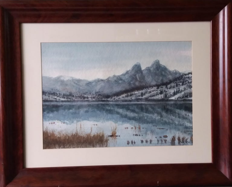 lake in the Pyrenees Landscape original watercolor painting - Realist Painting by Joaquin Cabane