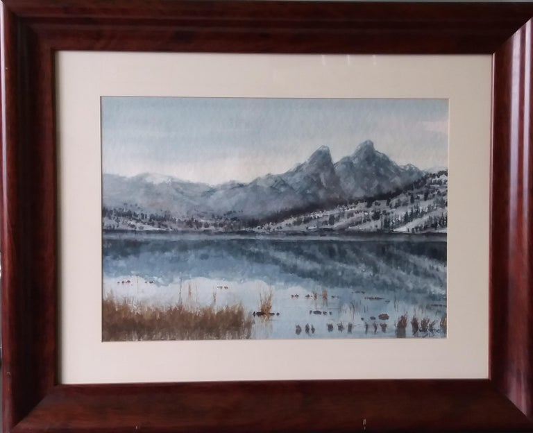 Joaquin Cabane Landscape Painting -  lake in the Pyrenees Landscape original watercolor painting