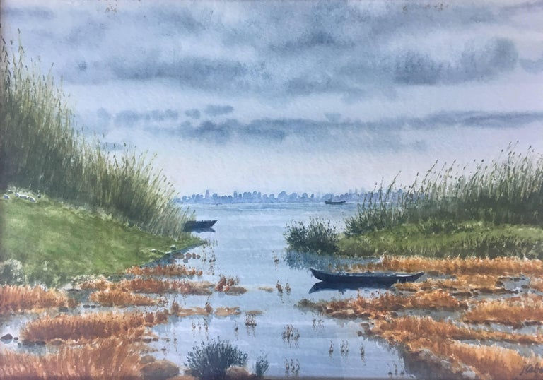 River. delta of the ebro. Beach. .  original realist watercolor painting - Painting by Joaquin Cabane