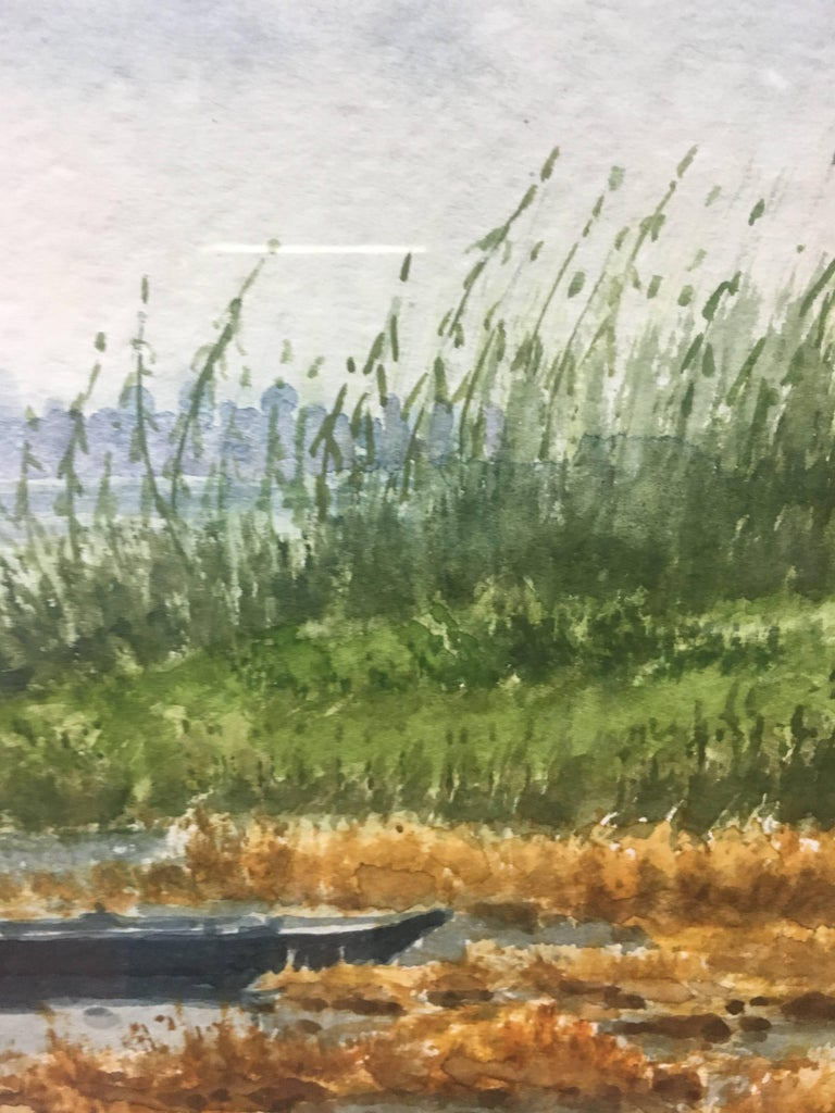 River. delta of the ebro. Beach. .  original realist watercolor painting - Realist Painting by Joaquin Cabane