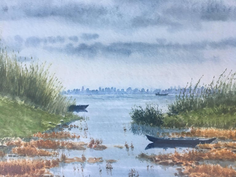 River. delta of the ebro. Beach. .  original realist watercolor painting - Gray Landscape Painting by Joaquin Cabane