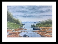 River. delta of the ebro. Beach. .  original realist watercolor painting
