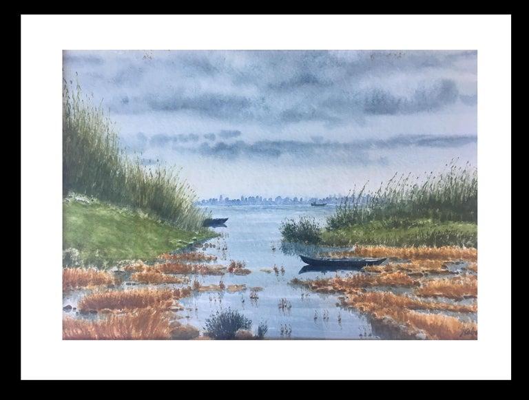 Joaquin Cabane Landscape Painting - River. delta of the ebro. Beach. .  original realist watercolor painting