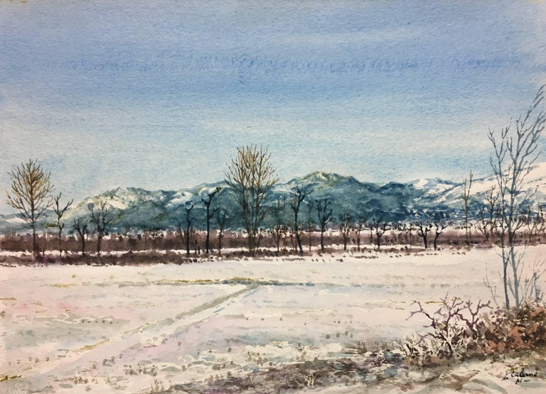 snowy landscape.  original watercolor painting - Painting by Joaquin Cabane