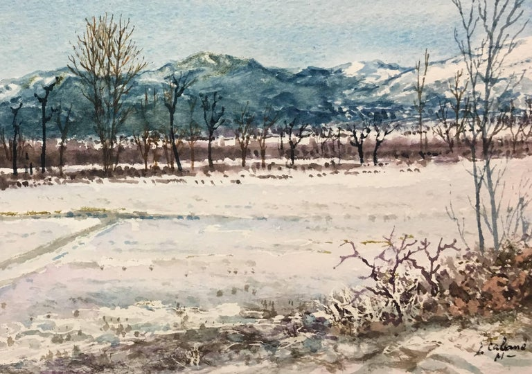 snowy landscape.  original watercolor painting - Realist Painting by Joaquin Cabane