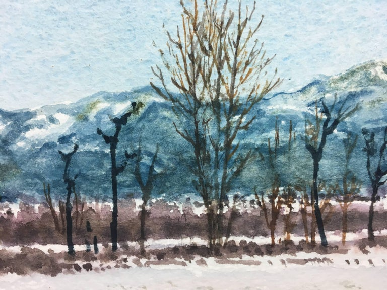 snowy landscape.  original watercolor painting - Blue Figurative Painting by Joaquin Cabane